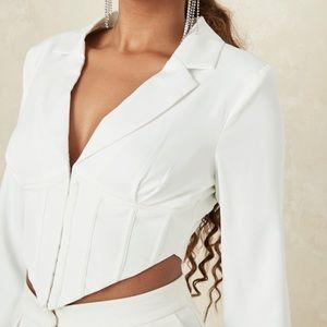 missguided white long sleeve corset top